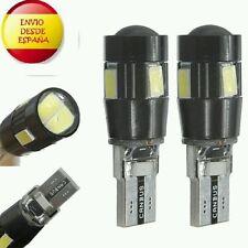 2X BOMBILLAS 6 LED 5630 W5W T10 CANBUS CON LENTE BLANCO PURO ULTIMA GENERACION