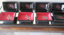 Visun China Dogwood Floral Dish Wasabi Sauce Bowl Black Red set 8 5 chop stands
