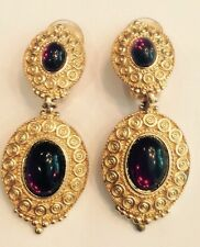 Vintage CHRISTIAN DIOR Purple Cabochon Faux Glass Drop Earrings Gold-tone