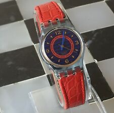 1992 Swatch Gin Rosa Spring Summer Collection. Red Leather Band Ladies Watch
