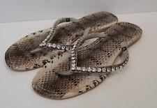 Mystique Gris y Negro Piel De Serpiente Impresión Diamante Detalle Sandalias Planas Flip Flop UK7
