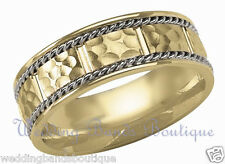 18K WHITE & YELLOW GOLD WEDDING BAND MENS HAMMERED TWISTED ROPE COMFORT RING 7mm