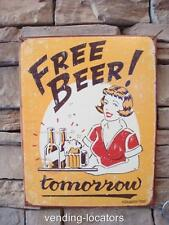"FREE BEER TOMORROW 16"" x 12"" Tin Vintage Style Man Cave Bar Pub Coors Budweiser"