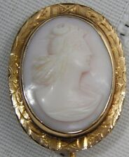 Atq Victorian Carved Shell Cameo 14k Gold Lapel Hat Lapel Pin