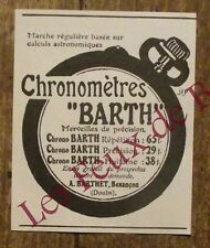 Publicité ancienne Chronométre Barth, Barthet  1910, advert