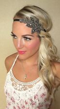 Black Pewter Silver Flapper Charleston 1920 Hair Head Band Choochie Great Gatsby