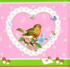 4x Single Table Party Paper Napkins for Decoupage Decopatch Beauty Love Bird