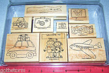 Stampin Up Travel Time Stamp Set Kids Airplane Car Map Camera Suitcase Banner