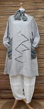 LAGENLOOK BEAUTIFUL 100% LINEN A-LINE 2 POCKETS TUNIC+SCARF*GREY*BUST UP TO 50""