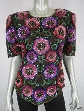 NWT LAURENCE KAZAR L Silk Black Purple Red Sequin Beaded Floral Evening Top NEW