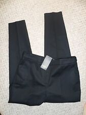 "MANGO ~ Beautiful Jet Black ""Taliored""Waistband Detail & Button Trousers Size 10"