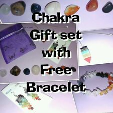 NATURAL CHAKRA SET-PENDULUM, 7 STONES, EAR RINGS AND GEM BAG + free bracelet