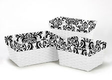 BLACK WHITE DAMASK ORGANIZER STORAGE KID BASKET LINER FIT SMALL MEDIUM LARGE BIN