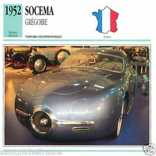 SOCEMA GREGOIRE 1952  CAR  VOITURE FRANCE CARTE CARD FICHE