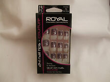 Royal Couture 24 Nail Tips Purple Flower Design New