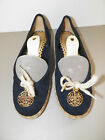 WOMANS JUICY COUTURE BLACK SUEDE FLAT WITH GOLD MEDALLIONS SZ 7 M NEW
