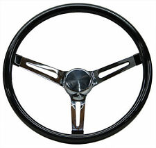 "Mooneyes Black Vinyl Steering Wheel 13.5"" with slots in spokes Rat Fink rod Ratf"