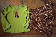Girl's Size 24M 18-24 Months Green Gymboree Puppy Top & PLACE Animal Print Skirt