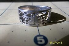 Sterling Silver Cut-Out scroll Vine  Ring 8.5