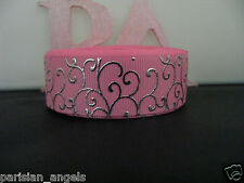"""7/8"""" (22mm) Foil Printed Grosgrain Ribbon - By the Metre- #4461 Pink &Silver"""