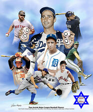 ALL-TIME TOP JEWISH BASEBALL PLAYERS POSTER Print SANDY KOUFAX, Greenberg, Youk+