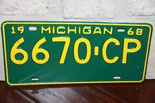 1968  MICHIGAN  License Plate *** '68  **  Commercial  **