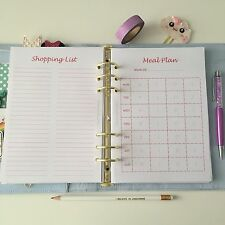 PINK A5 Planner Insert Filofax Kikkik Meal Plan With Shopping List!  12 Pieces