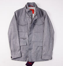 NWT $2650 ISAIA Gray Wool-Linen-Silk Outer Jacket 48/M Leather Trim + Hanger
