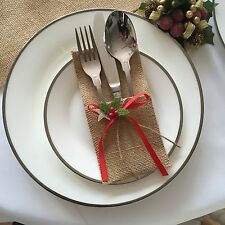 Víspera de Navidad Decoración de la mesa 24 X cubiertos Holder Bolsillo Arpillera Rústico Arpillera