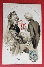 CPA. 1906. Couple. Élégants. Manchon. Illustrateur inconnu.