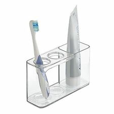 Mdesign Toothbrush and Toothpaste Holder for the Bath/Vanity Basin – Clear,