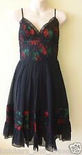 NWT ~ 4 ~ Betsey Johnson ~ 100% Silk Tin Can Roses A-Line Spaghetti Strap Dress