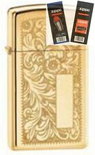 Zippo 1652b venetian slim brass Lighter with *FLINT & WICK GIFT SET*