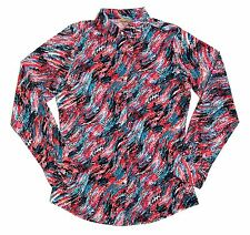 WRANGLER Womens M Western Shirt Multicolor Abstract Clear Sequin Pearl Snap L/S