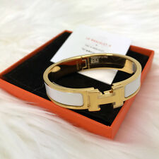 BNIB 2016 HERMES CLIC CLAC ENAMEL BANGLE H BRACELET WHITE YELLOW GOLD PLATED PM