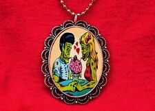 ZOMBIE LOVE COUPLE MONSTER HEART NECKLACE ROCKABILLY