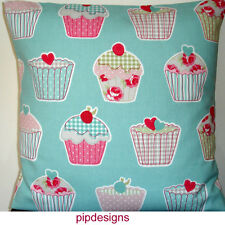 "New 14"" Cushion Cover Shabby Chic Vintage Tea Cake Cupcakes Aqua Pink Hearts"