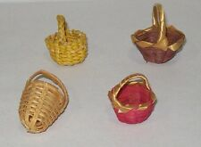 Miniature dollhouse Easter Basket 4 Vintage Woven Wicker / Straw Mini Baskets