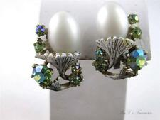 Vintage UnSigned HAR Green Rhinestone & CAB White Wash Clip On Earrings