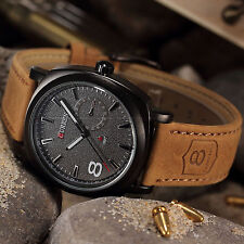 NEW Black dial Men's watches men Military water with Leather Wristwatch
