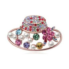 18K ROSE GOLD PLATED AND GENUINE MIXED CUBIC ZIRCONIA CRYSTAL PEARL HAT  BROOCH