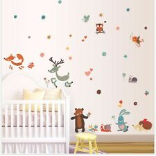Cute Animals Deer Owl Fox Bear Removable Kids Wall Sticker Decal Nursery Decor
