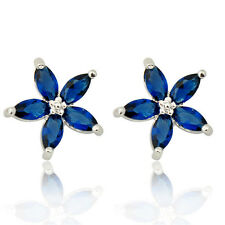 Five-Star Colorful Sapphire Stud Women's 10KT White Gold Filled Wedding Earrings