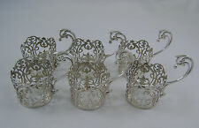 Set Of Six Solid Silver Cup / Coffee Can Holders London 1913 by Robert Stewart