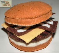 felt food play toys 1 WAVY BACON CHEESEBURGER children kids pretend