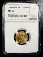 1900 GREAT BRITAIN GOLD 1/2 SOVEREIGN NGC MINT STATE MS65 RARE THIS GRADE!
