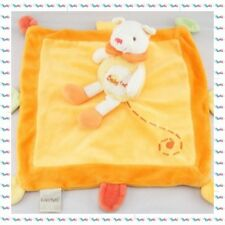 Doudou Plat Carré Chat Orange Grelot Baby Nat
