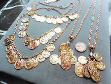 Vintage lot new old stock 6 neat Roman coin dangle gold tone necklaces AT15