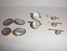 Great 7 pieces  Vintage 14k Art Deco mop cufflinks stud tuxedo set