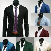 New 8 colors Stylish Men's Casual Slim fit One Button Suit Blazer Coat Jackets #